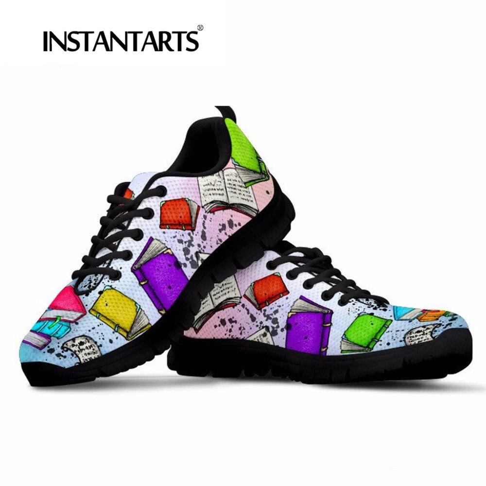 INSTANTÂNEOS Moda Das Sapatilhas Das Mulheres Flats Sapatos Casuais Malha Respirável Leitor de Livros Impressão Juventude Menina Lace Up Flats Tenis Feminino