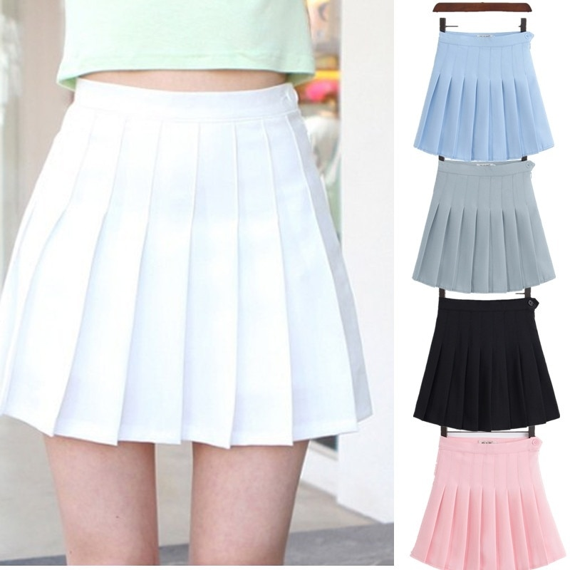 Girls A Lattice Short Dress High Waist Pleated Tennis Skirt Uniform with Inner Shorts Underpants for