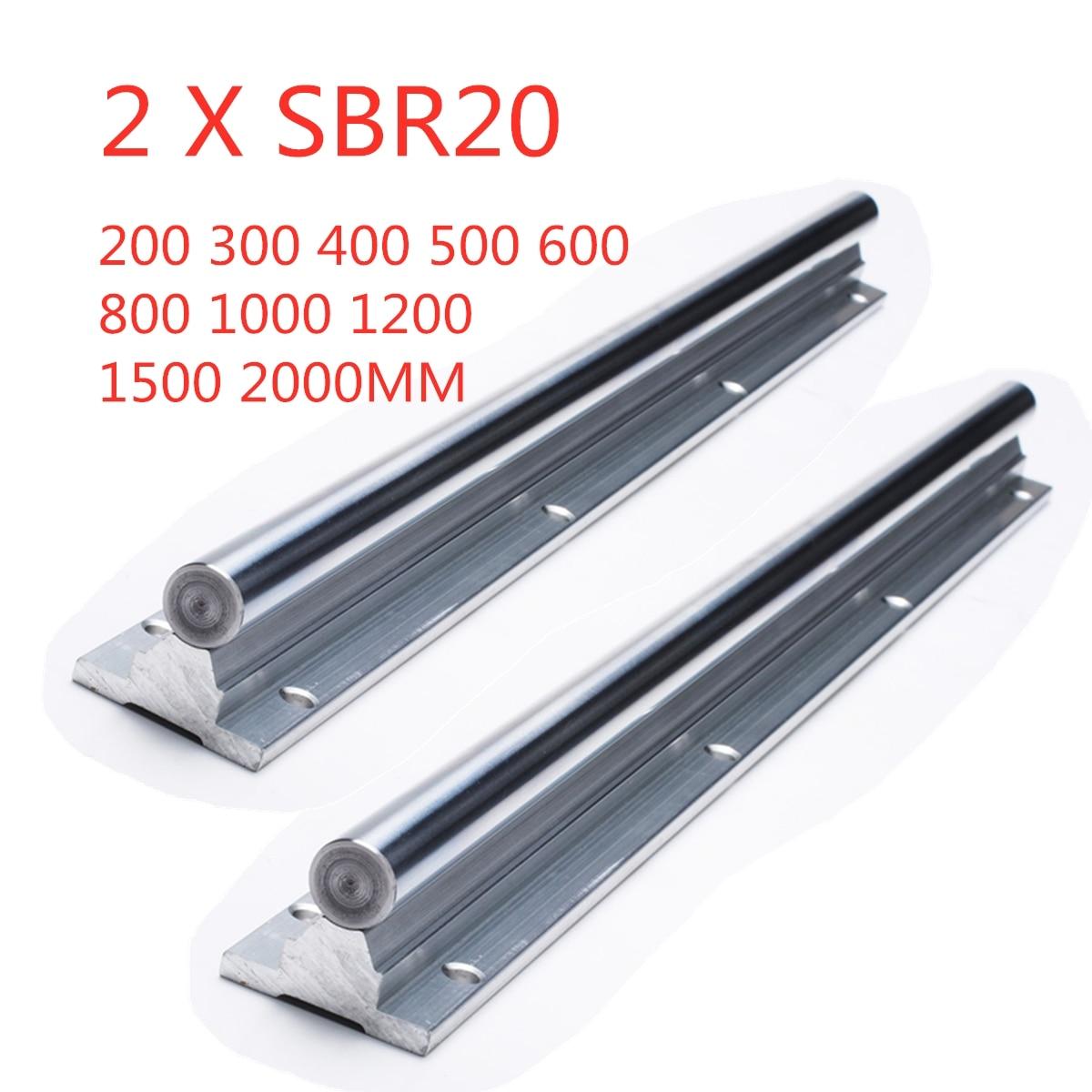 2 blocos lineares do rolamento do trilho de guia sbr20 200-2000mm dos pces sbr20 para o trilho linear das peças 20mm do cnc