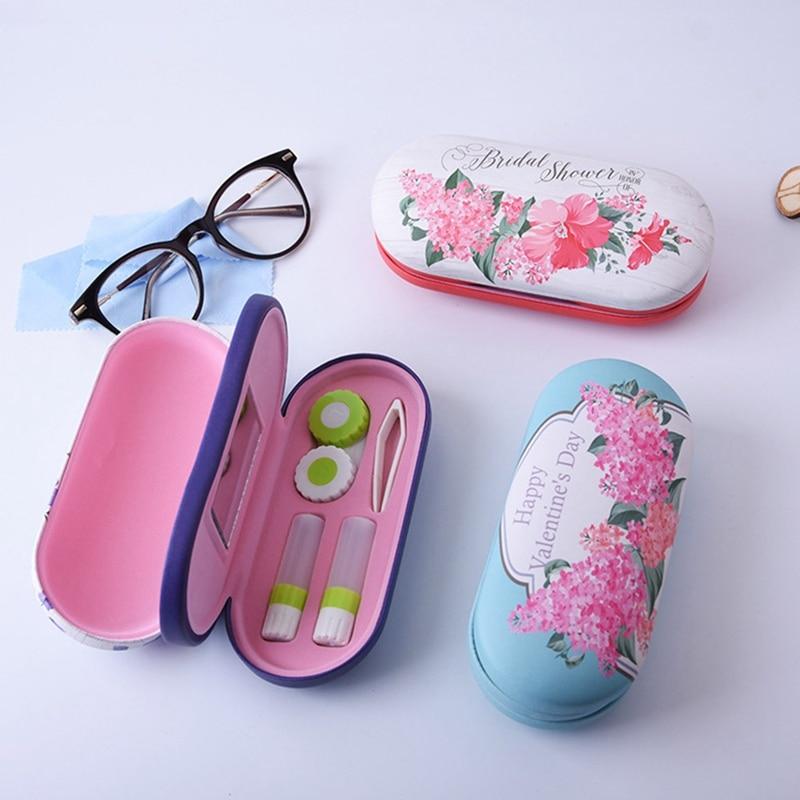 Bonita caja de gafas de estilo chino, impresión digital manual, caja de gafas dobles, lentes de contacto, caja de pupila de belleza NX