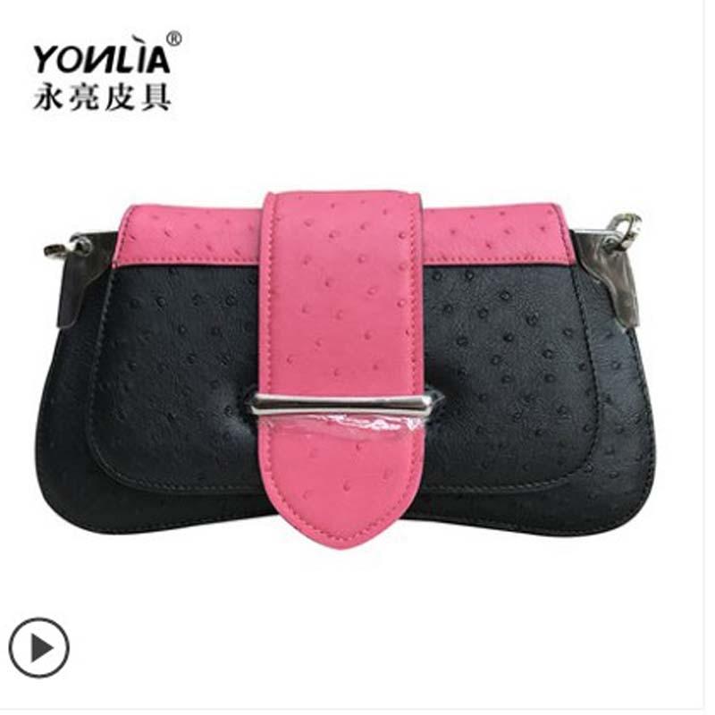 Yongliang السلع الجلدية الحقيقي الجديد النعام جلد حقيبة يد للسيدات الجلود حقيبة كتف المألوف سيدة النساء حقيبة