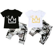 Kinder Jungen Kleidung Set 2019 Sommer Kurzarm Crown T-shirt Tops Camouflage Shorts Hose 2 PCS Outfits