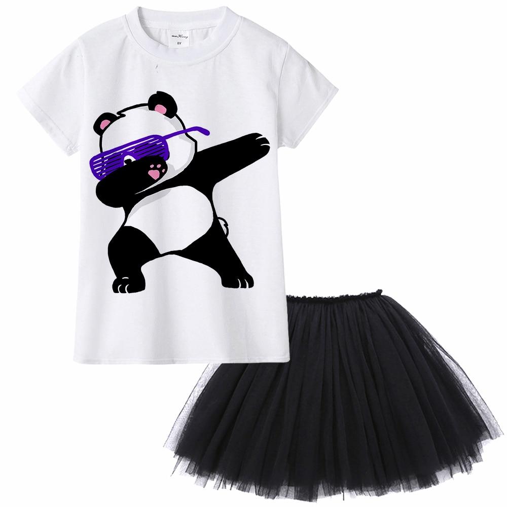 Милый Забавный комплект одежды для девочек с принтом «даб»; Футболка для девочек с изображением единорога, кота, собаки, мопса, панды, зебры, кролика + юбка-пачка комплект из двух предметов
