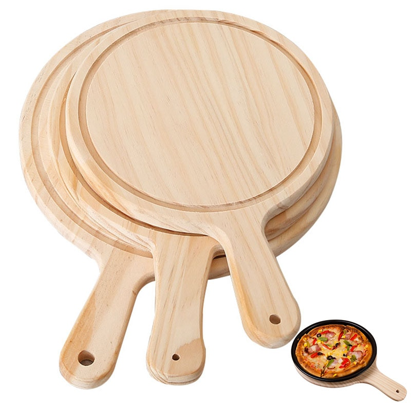 Junta de Pizza redonda con mano bandeja de horno para Pizza corte de piedra placa bandeja de Pizza para hornear la torta herramientas de restaurante