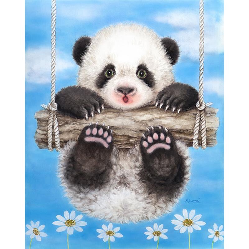 """Diamante quadrado completo 5d diy pintura diamante """"panda bonito"""" 3d bordado ponto cruz mosaico decoração para casa kbl"""