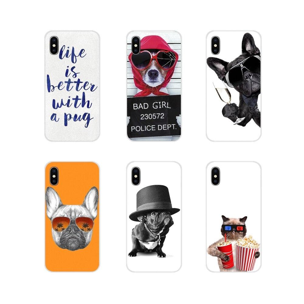 Para LG G3 G4 Mini G5 G6 G7 Q6 Q7 Q8 Q9 V10 V20 V30 X Power 2 3 K10 K4 K8 2017 TPU Pele Caso Engraçado Bonito Pugs Animais Cães e Gatos