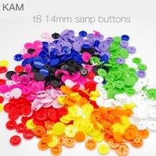 {10 kleuren KAM T8 14mm 100 sets} Glossy plastic Grote KAM Ronde Snap Knoopsluiting knoppen Luier DIY Kleuren Gemengde Lange Prong