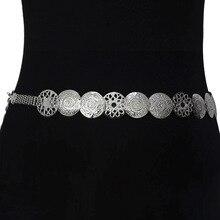 Cinturón de Metal con hebilla de Metal para mujer, cinturón Circular de alta calidad con patrón de moda Retro, nuevo diseño, 2019