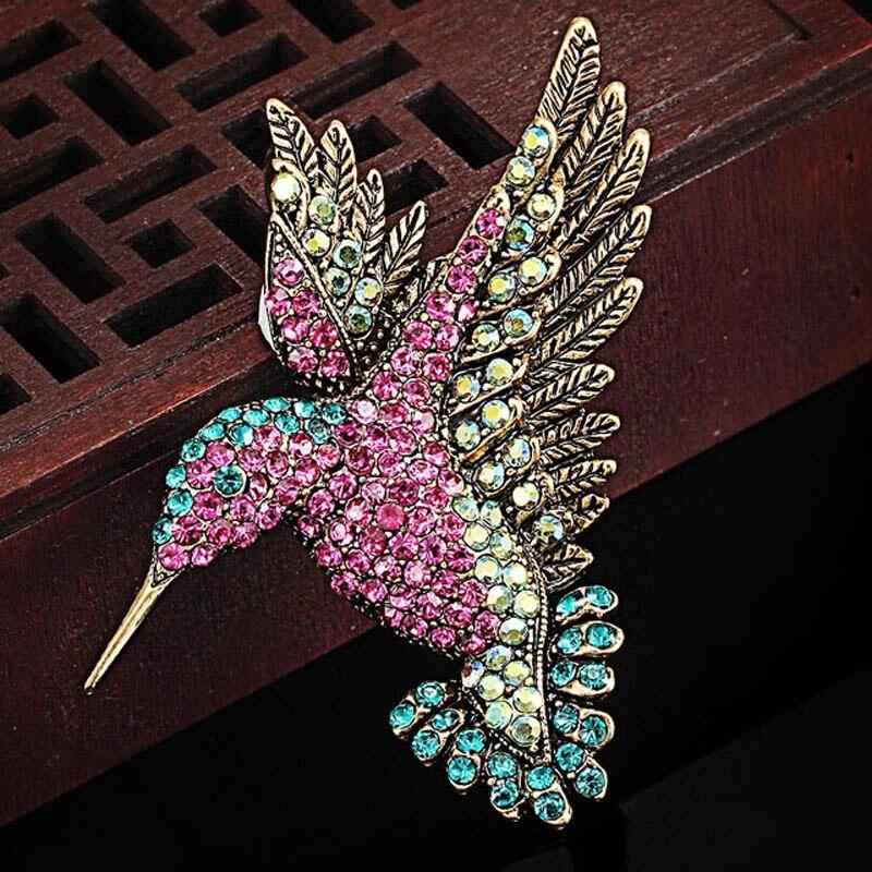 12 unids/lote venta al por mayor broche de colibrí vintage para mujer joyería Animal de diamantes de imitación accesorio para prendas de vestir accesorios para sombreros
