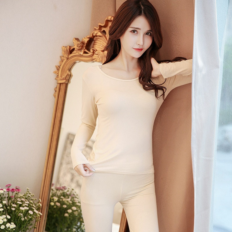 Modal thermal underwear set female thin section round neck warm women's autumn solid color bottoming shirt intimate clothes enlarge