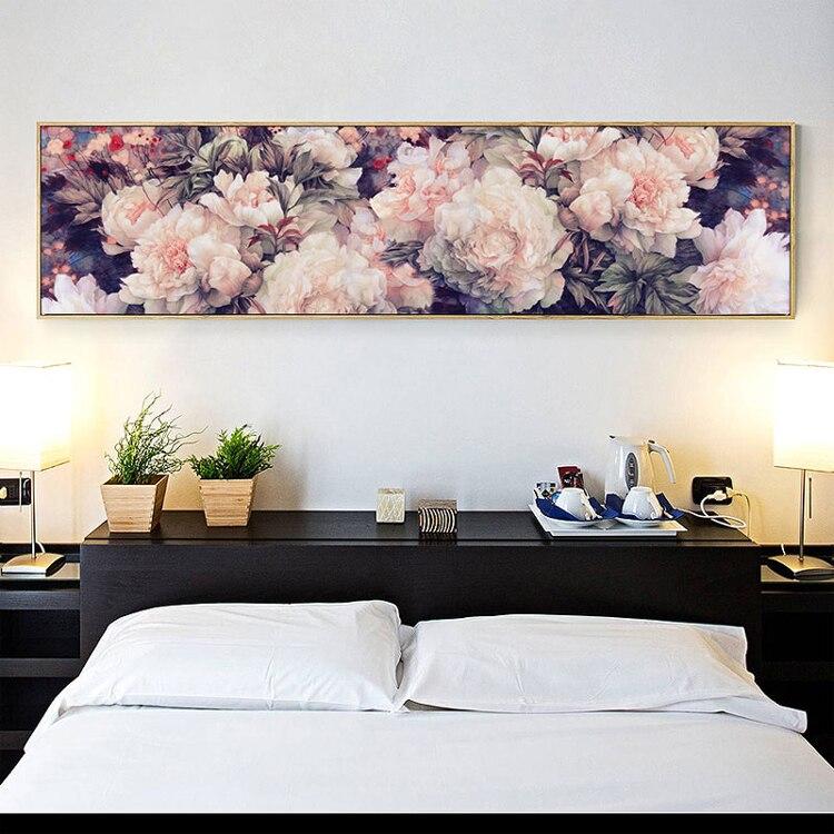 Bordado, DIY juego de punto de cruz grande para kit de bordado completo, Blanco púrpura Rosa peonia flor patrón impreso decoración de pared para bodas