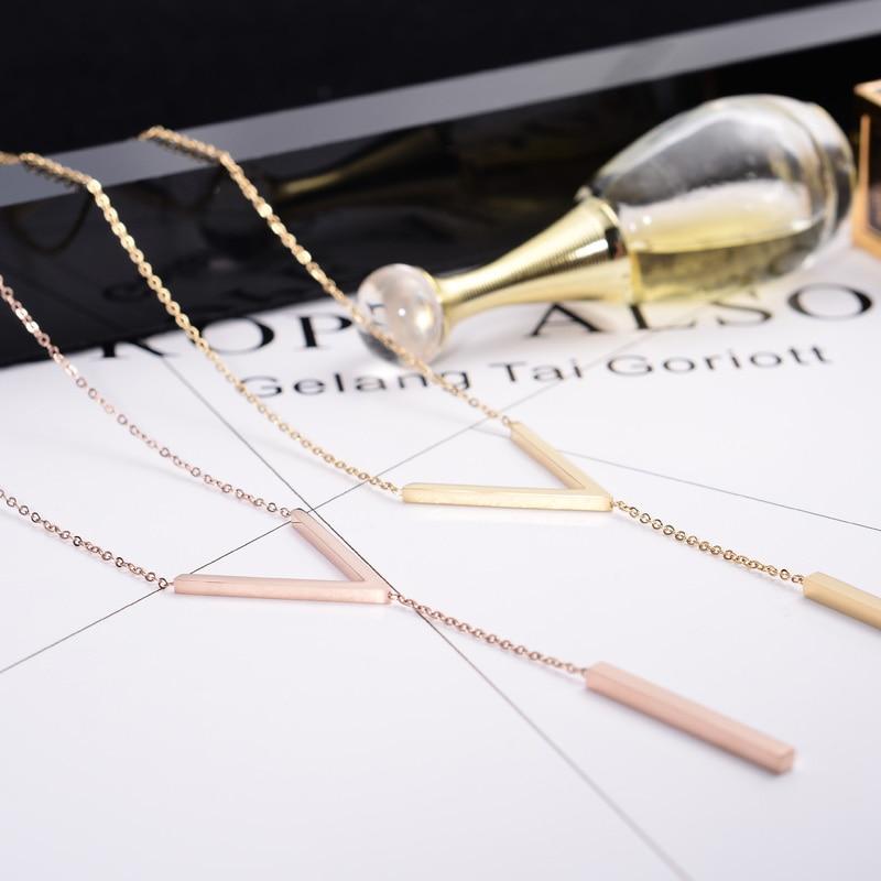 YUN RUO 2020 желтое розовое золото цвета V Форма колье ожерелье для женщины девушки мода подарок нержавеющая сталь 316 L ювелирные изделия бренда