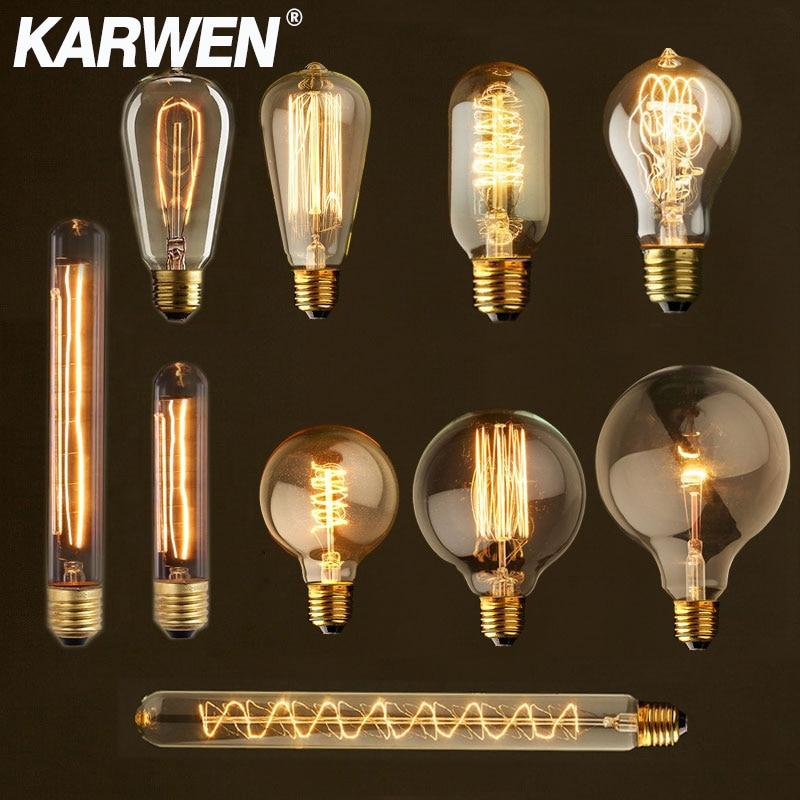 Edison Bulb E27 220V 40W ST64 G80 G95 T10 T45 A19 Retro Ampoule Vintage Incandescent Bulb edison Lamp Filament Light Bulb Decor