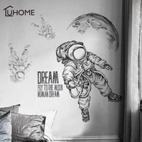 large vintage black and white wall sticker space astronaut decal living room bedroom decoration kids room wall stickers adhesive
