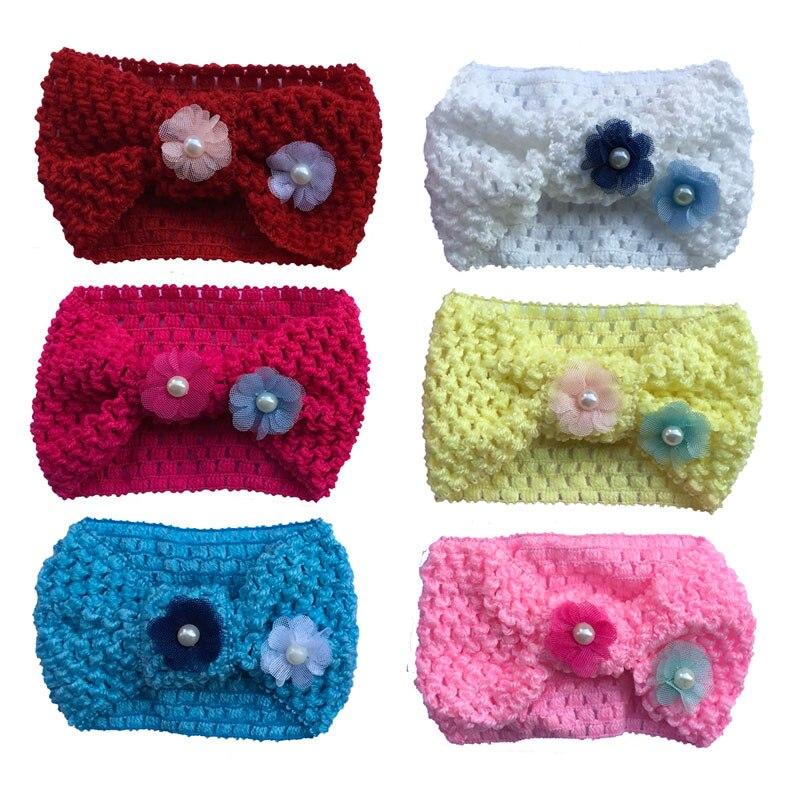 1 шт., вязаная повязка на голову для маленьких девочек, вязаная крючком тюрбан, растягивающийся цветок, теплая повязка на голову, повязка на г...