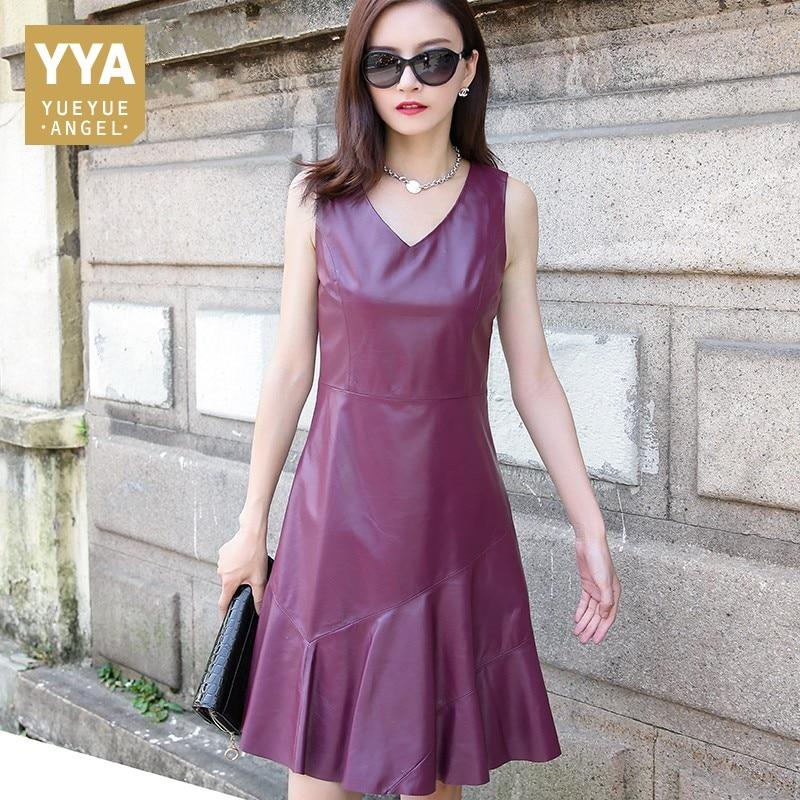 عالية الجودة العلامة التجارية إمرأة اللباس مثير الخامس الرقبة جلد طبيعي حورية البحر اللباس الإناث صالح سليم أكمام اللباس زائد حجم M-3XL