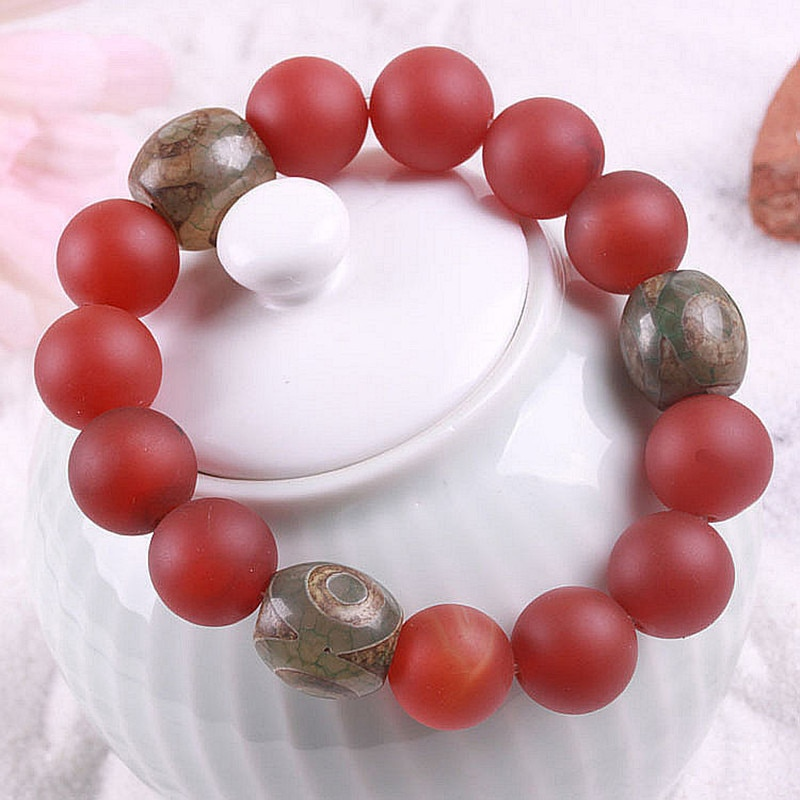 Envío Gratis moda Natural TIANZHU Art mate rojo ónix amantes cuentas mujeres hombres energía hebra pulseras joyería de moda