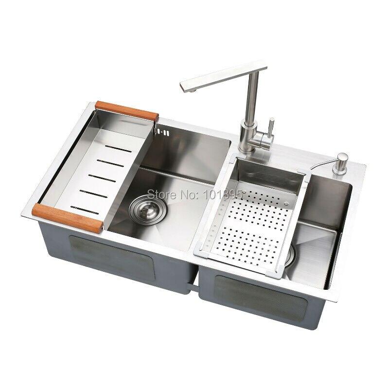 SUS304 Steel Square Double Bowl Kitchen Sink X26030