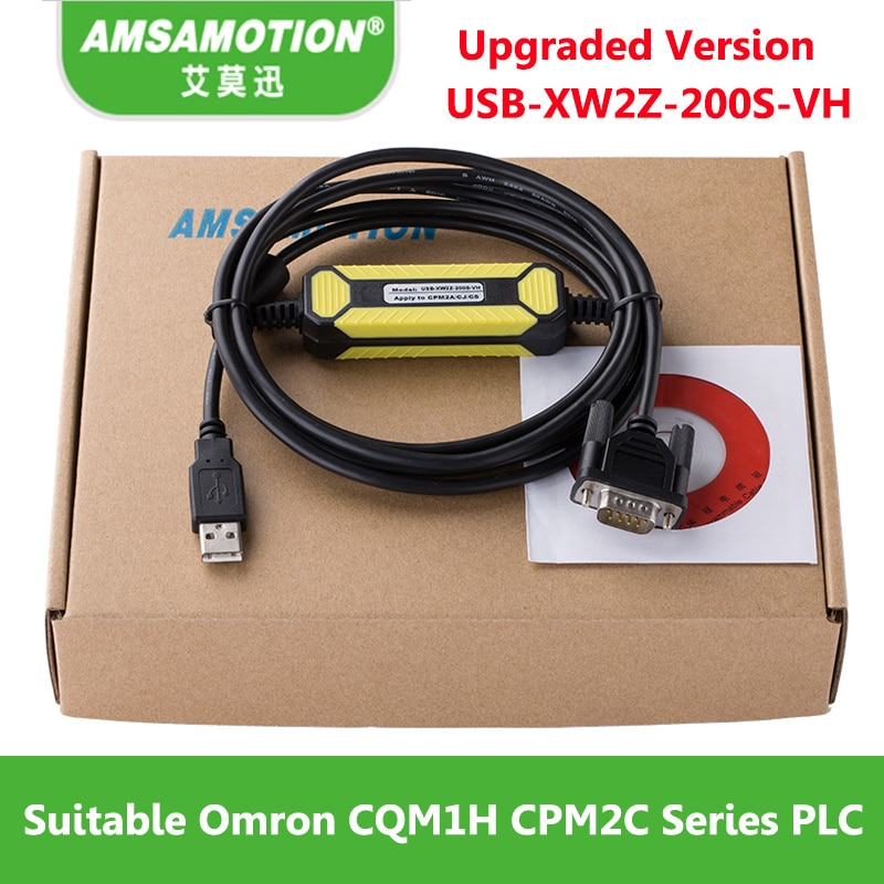 Amsamotion USB-XW2Z-200S-VH, подходит для Omron CQM1H CPM2C серии, Кабель для программирования ПЛК, USB кабель