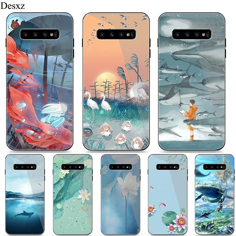 Cep telefonu kılıfı Için Samsung A10 A20 A30 A40 A50 A60 A70 S7 Kenar S8 Artı Not 8 9 S10 Kapak Çin stil Balık Okyanus Plaj