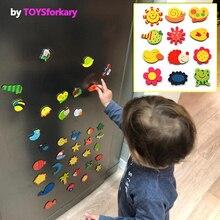 Autocollants magnétiques pour le réfrigérateur, réfrigérateur en bois, 1 ensemble de autocollants magnétiques pour le réfrigérateur, avec dessin animé danimaux, chiffres de lalphabet, jouets colorés pour les enfants, éducation pour bébés