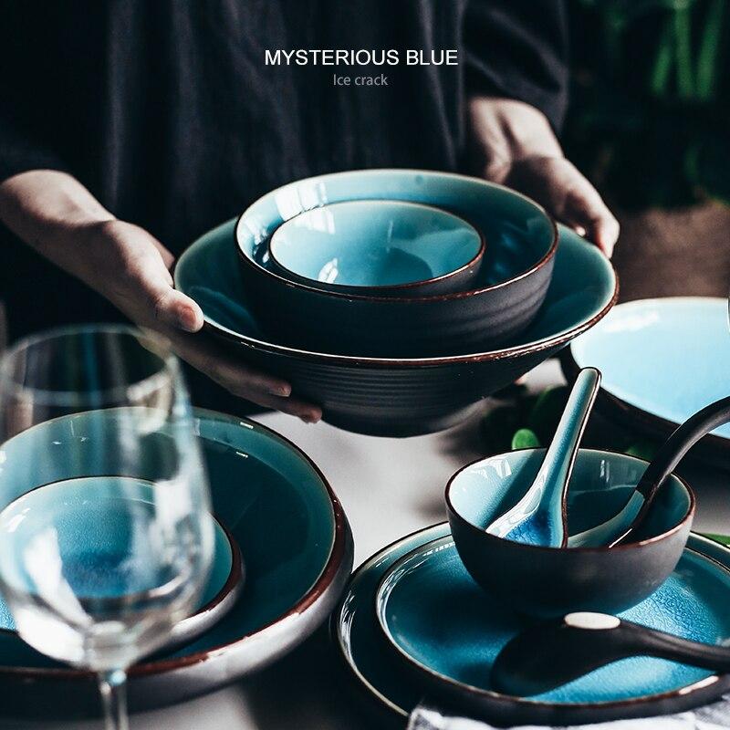 Vajilla esmaltada agrietada, set de platos domésticos de cerámica, tazón de arroz, plato, tazón de sopa, cuchara, plato de estilo japonés, apto para microondas