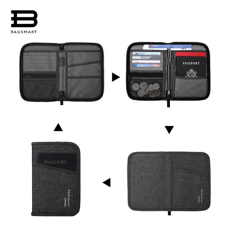 BAGSMART Multifunction Travel Passport Bag RFID Passport ID Card Holder Bank Card Bag Clutch Holder Zipper Case Purse