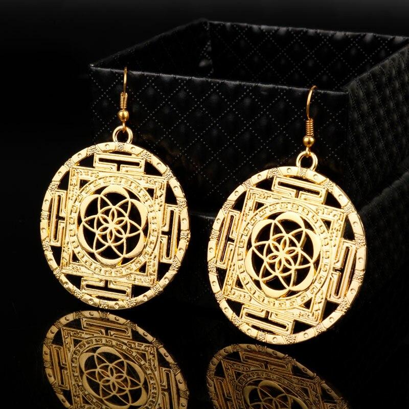 MQCHUN Flower of Life Drop Earrings Sacred Geometry Yoga Jewelry Handmade Gold Color Dangle Earrings