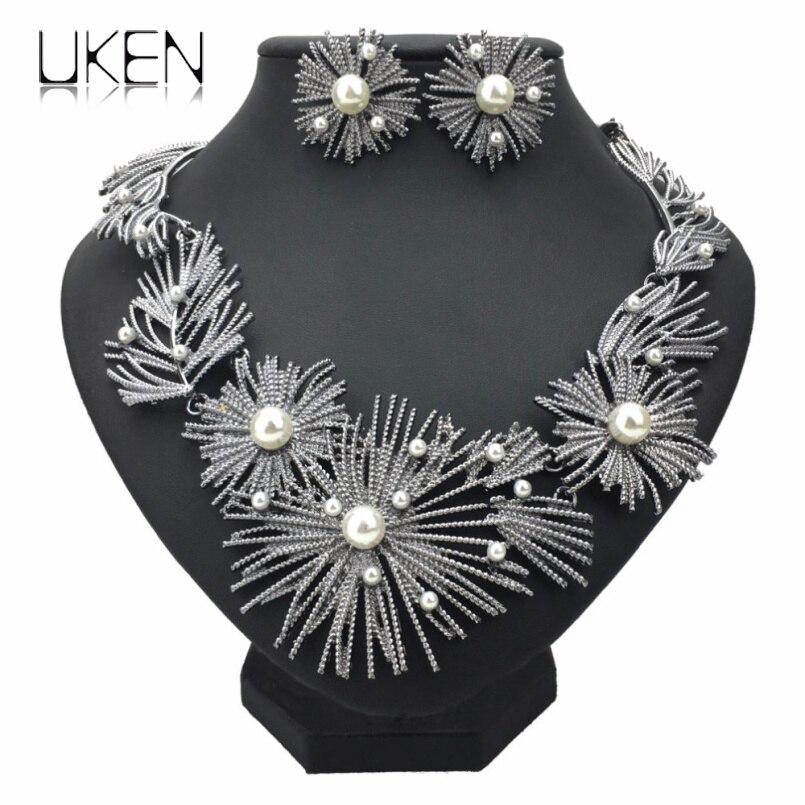 Imitação de pérola flor grande conjunto colar conjunto mulher casamento africano metal brincos de noiva colar conjuntos de jóias uken