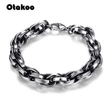 Otakoo hommes Bracelet en acier inoxydable cubain lien chaîne Bracelets 2018 couleur argent mode gros bijoux pour hommes