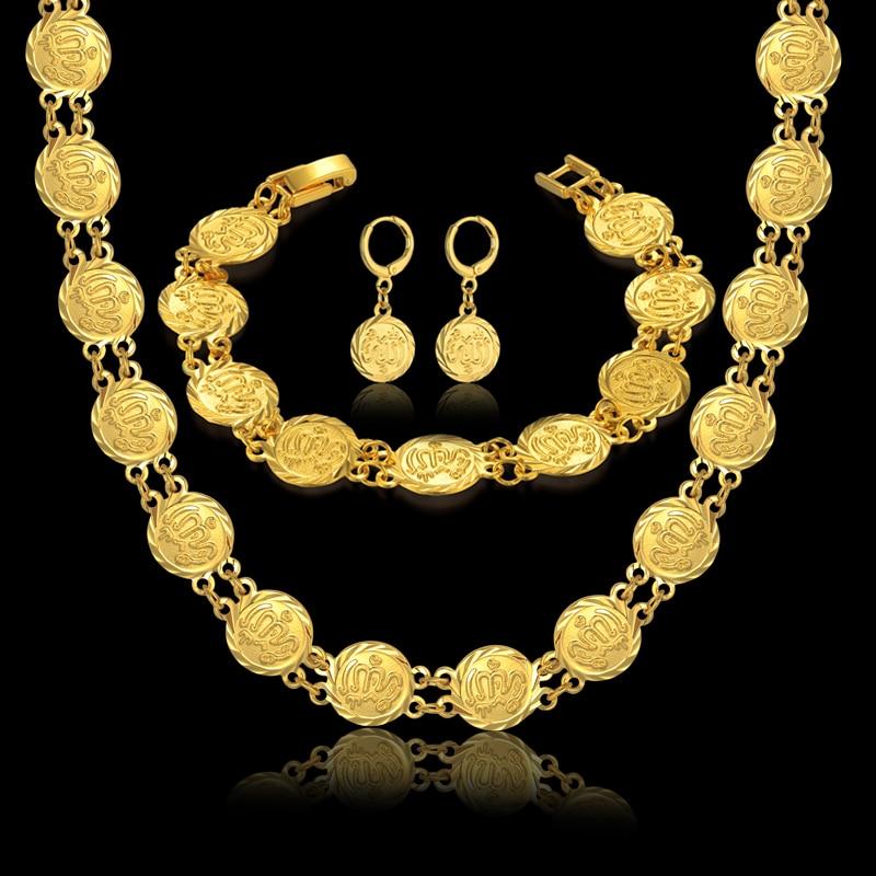 Женский винтажный комплект ювелирных изделий, ожерелье, браслет, серьги, набор, женский золотой цвет, исламская религия, африканские мусуль...