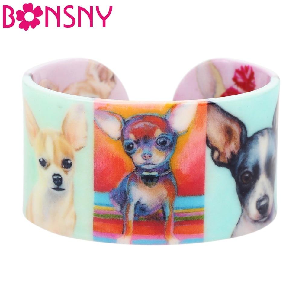Bonsny, brazaletes de plástico con diseño de perro Chihuahua, joyería India artesanal a la moda para mujeres, niñas, Damas, accesorios novedosos para mascotas