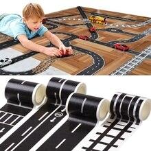 6 pièces Set chemin de fer route Washi bande autocollant large créatif nouveauté trafic collant papier bande Scotch route pour enfants jouet voiture Train jouer