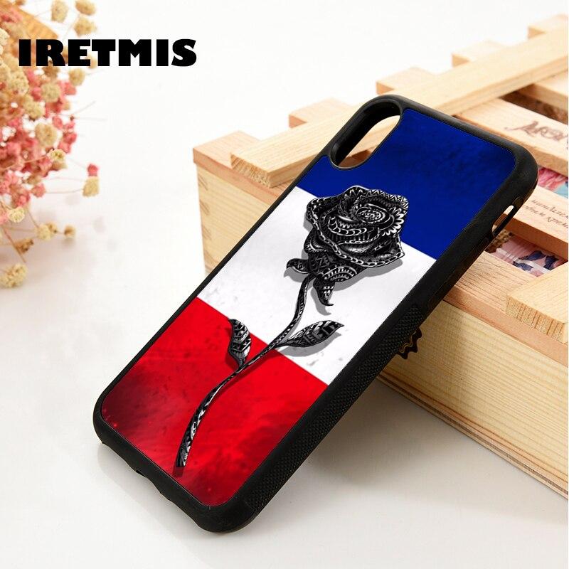 Iretmis 5 5S SE 6 6S funda de teléfono para iPhone 7 8 plus X Xs 11 Pro Max XR Francia Rosa Bandera de Francia raya flor regalo fresco
