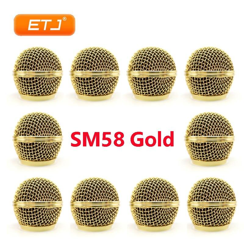 Mikrofon Relacement Poliert Gold Ball Kopf Mesh 10 stücke Mikrofon Grille Passend Für shure sm 58 sm 58sk beta 58 beta58a