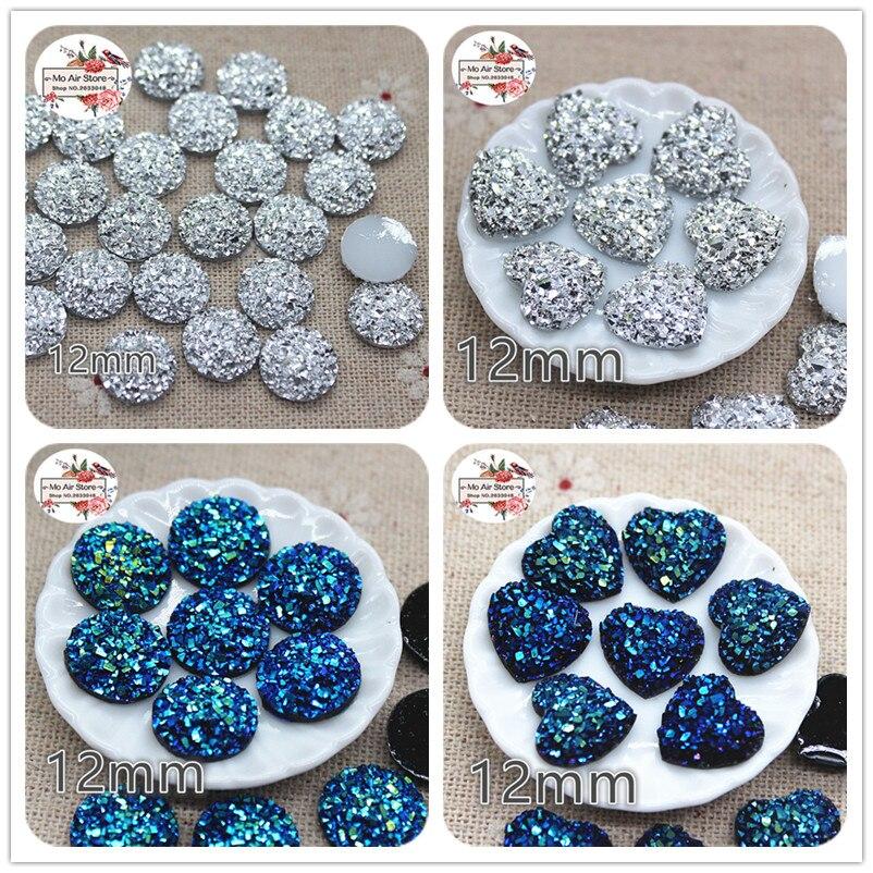 100 pçs brilhante prata imitação strass flat back cabochon arte fornecimento decoração charme artesanato diy 12mm