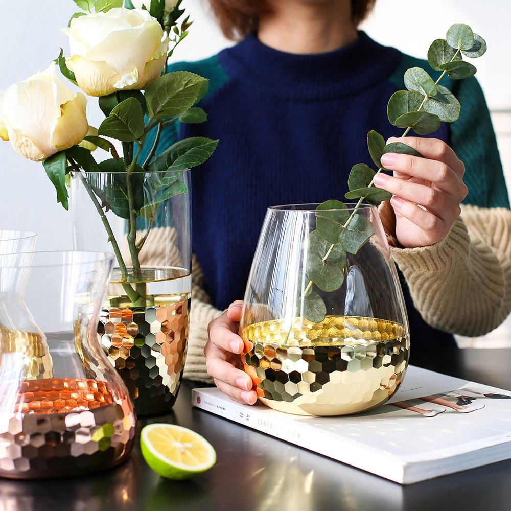 Европейское стекло ручной работы с прозрачным цветком, бутылка для воды, украшение для дома, свадебная декоративная ваза для растений