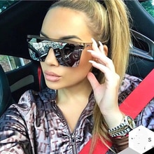 Oversized Square Sunglasses Men Women Flat Top Fashion One Piece Lens Sun Glasses for Women Brand 20