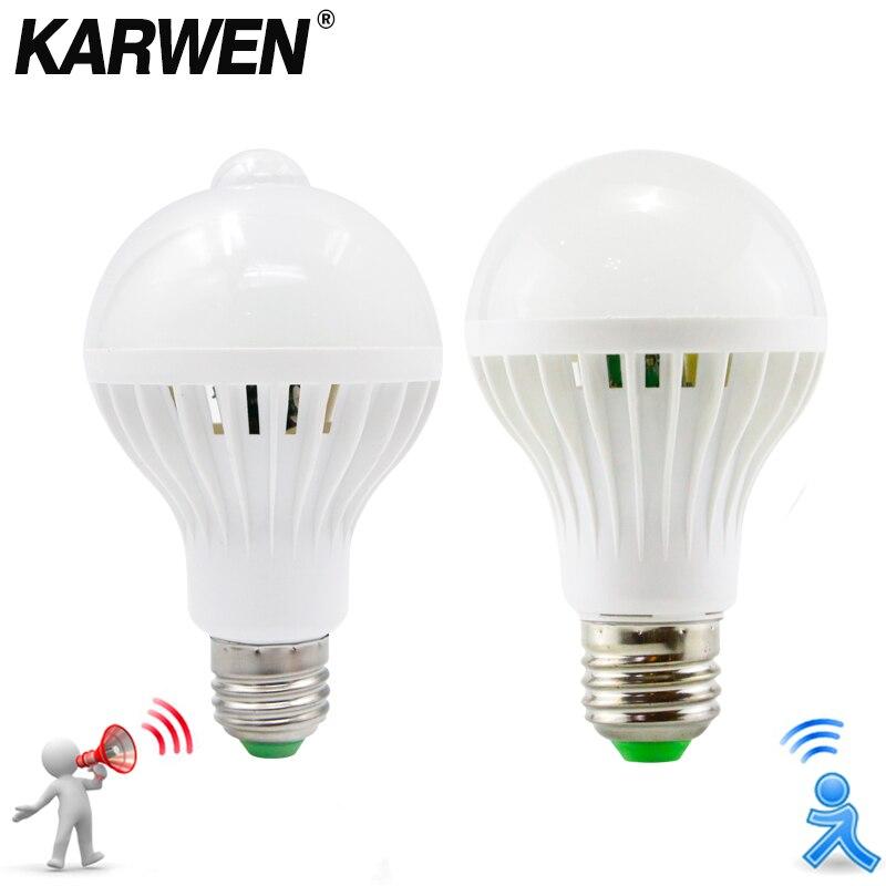 Karwen ac 85-265v inteligente som/pir sensor de movimento bombillas lâmpada led e27 3w 5w 7 9w 12w luz do corredor da escada da lâmpada de indução