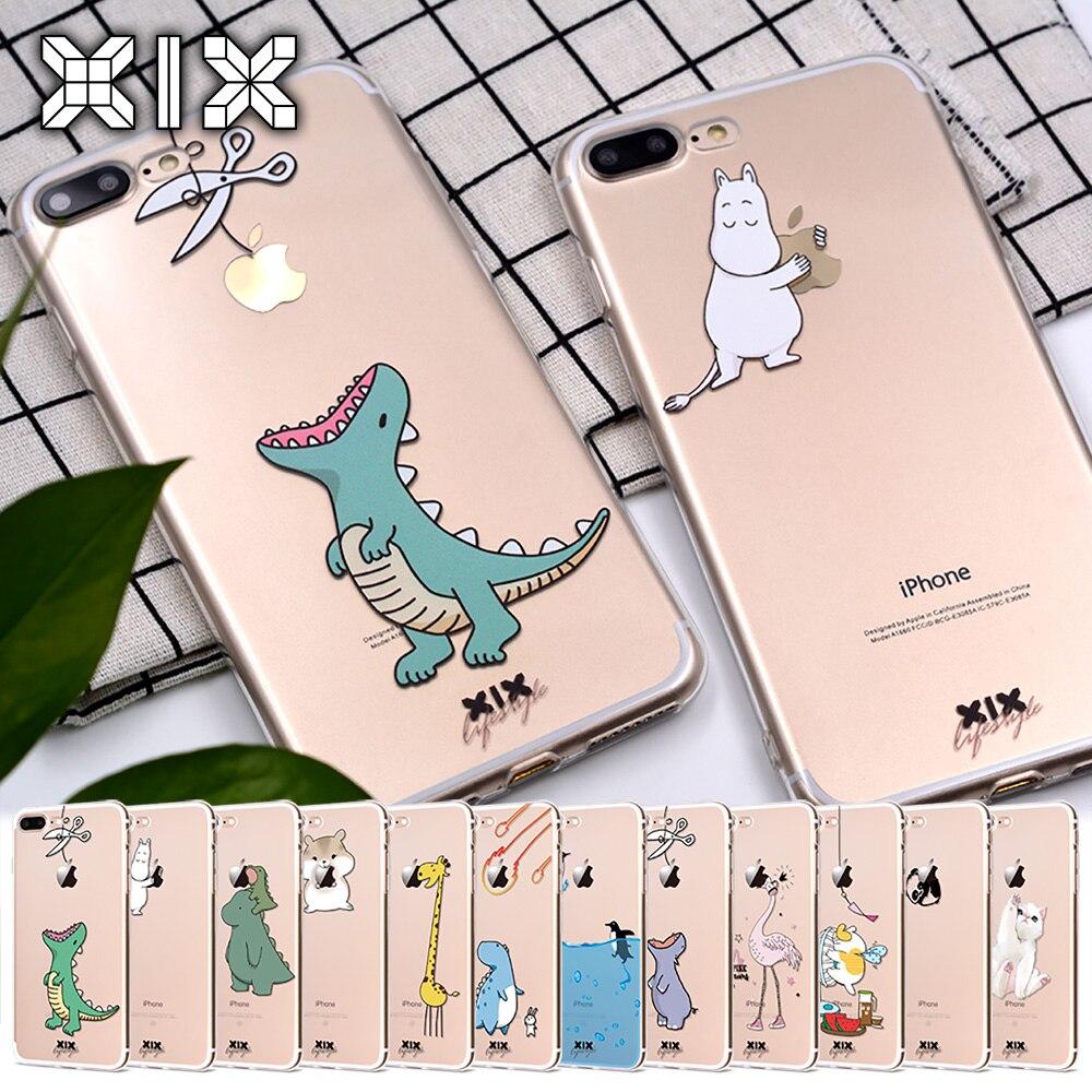Чехол для Funda iPhone 11 Pro, 5, 5S, 6, 6 S, 7, 8 Plus, X, XS Max, милый динозавр для iPhone 7, мягкий чехол из ТПУ для iPhone XR, чехол