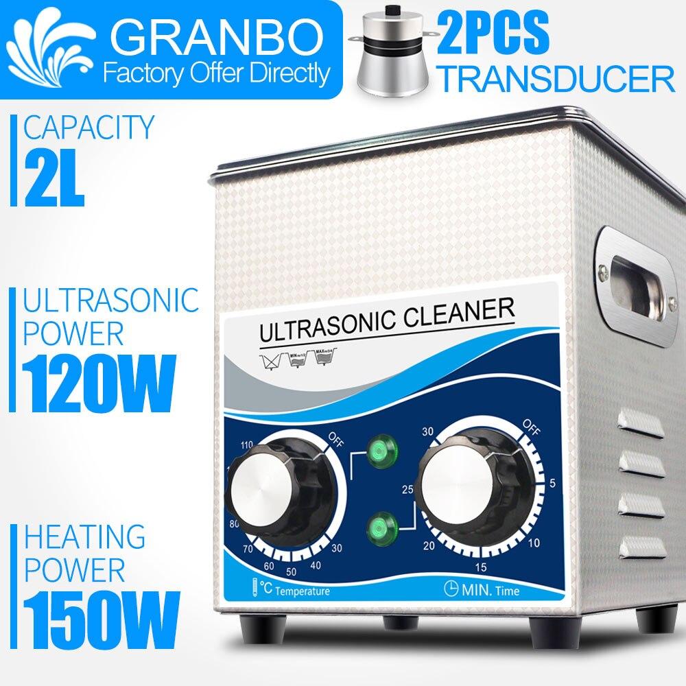120W 2L limpiador ultrasónico portátil 40khz perilla de calefacción Baño de acero inoxidable con cesta de limpieza piezas de hardware bujía lavado