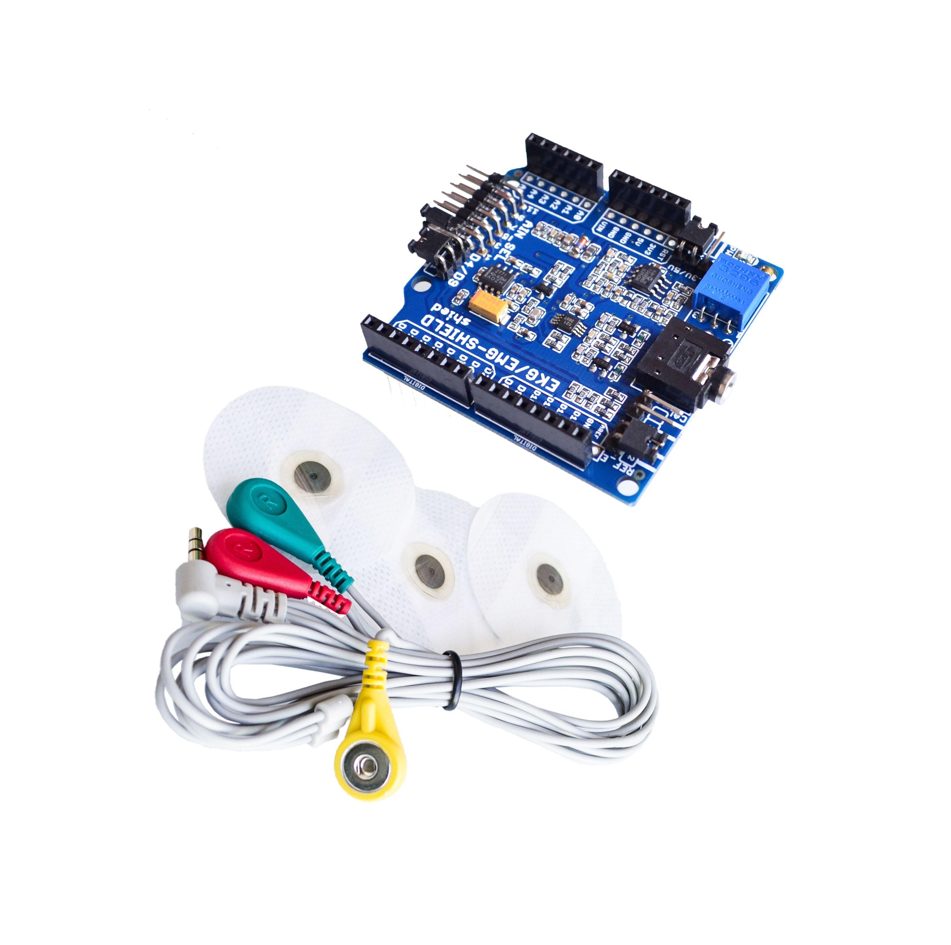 ЭКГ/ЭМГ щит для Arduino с кабелями и электродами