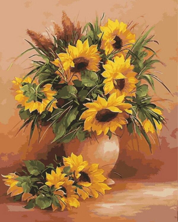Pinturas diy sin marco por números decoración de pared con flores diy pintura al óleo sobre lienzo para decoración del hogar girasol de 4050cm