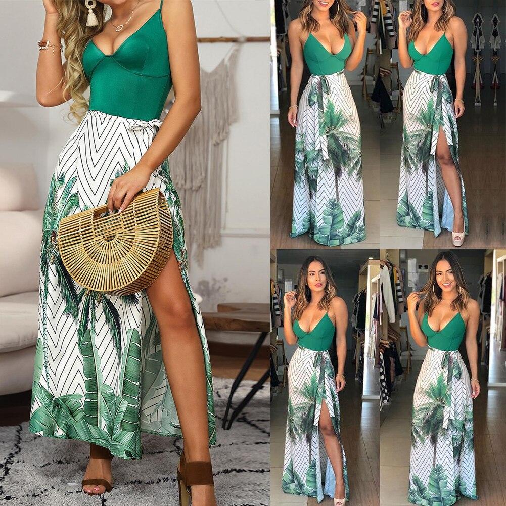 2019 Womens Wrap Summer Hawaiian Bohemian Maxi Dress Sexy Ladies Floral Paisley Print Halter Straps Split Dress Holiday Beach