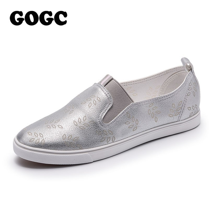 GOGC 2019 marca Slipony zapatos de mujer zapatos de cuero de las señoras zapatos transpirables zapatos de las mujeres planos de las mujeres zapatos vulcanizados antideslizante en zapatillas de deporte de mujer 942