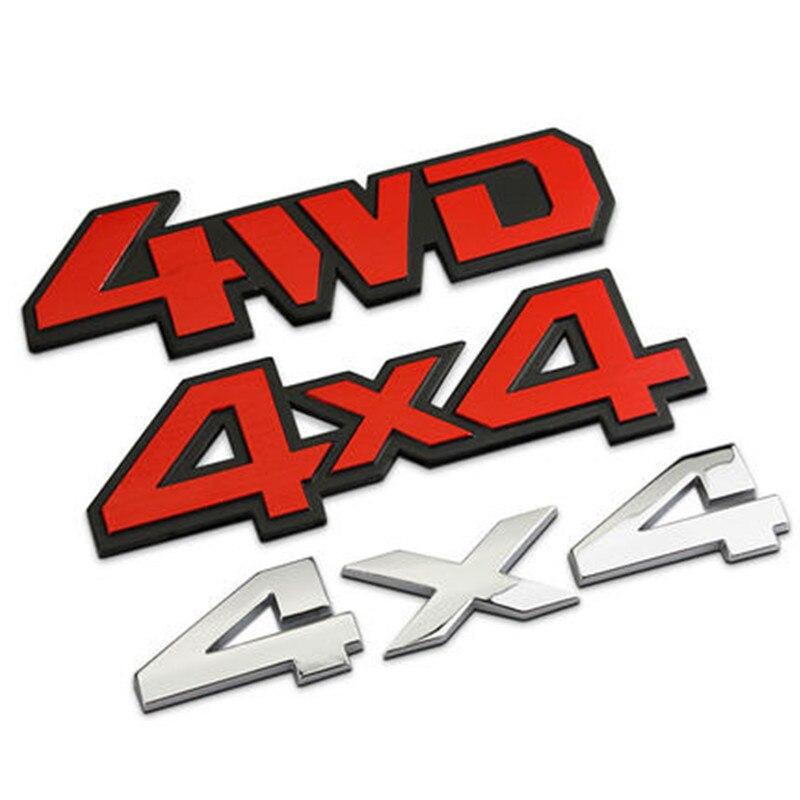Aluminum Stick On Polished Chrome 4WD 4X4 Fender Car Decal Emblem Trim Badge Logo 3D Metal Sticker For Truck Auto Styling