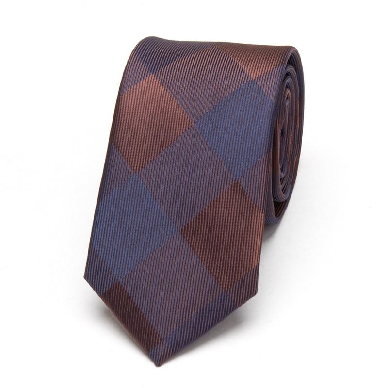 Мужские классические галстуки, коричневые модные свадебные деловые Узкие галстуки, мужские вечерние Узкие галстуки, клетчатый узкий жакка...