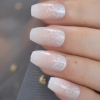 holo glitter pink nude french ballerina coffin false nails gradient natural press on fake nails tips daily office finger wear