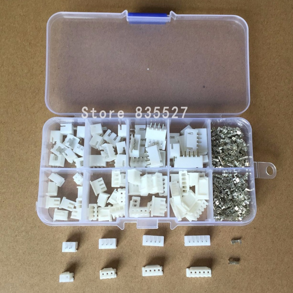 230pcs 40Sets/box kit 2.54mm XH2.54 2p 3p 4p 5p pin Connector plug + straight needle + terminal sock