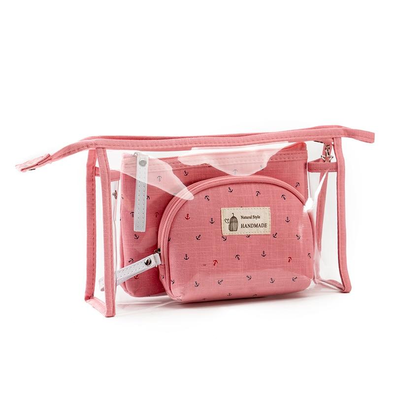 3 unids/set de bolsos cosméticos de marca de moda Neceser impermeable bolso de maquillaje portátil mujeres bolsa de PVC bolsa de aseo de viaje Blosa